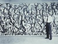 Pollock in front of Mural 1943